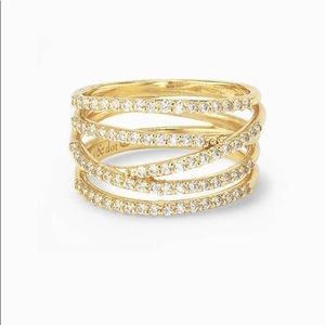 Stella & Dot- Stellar Pave ring gold size 6